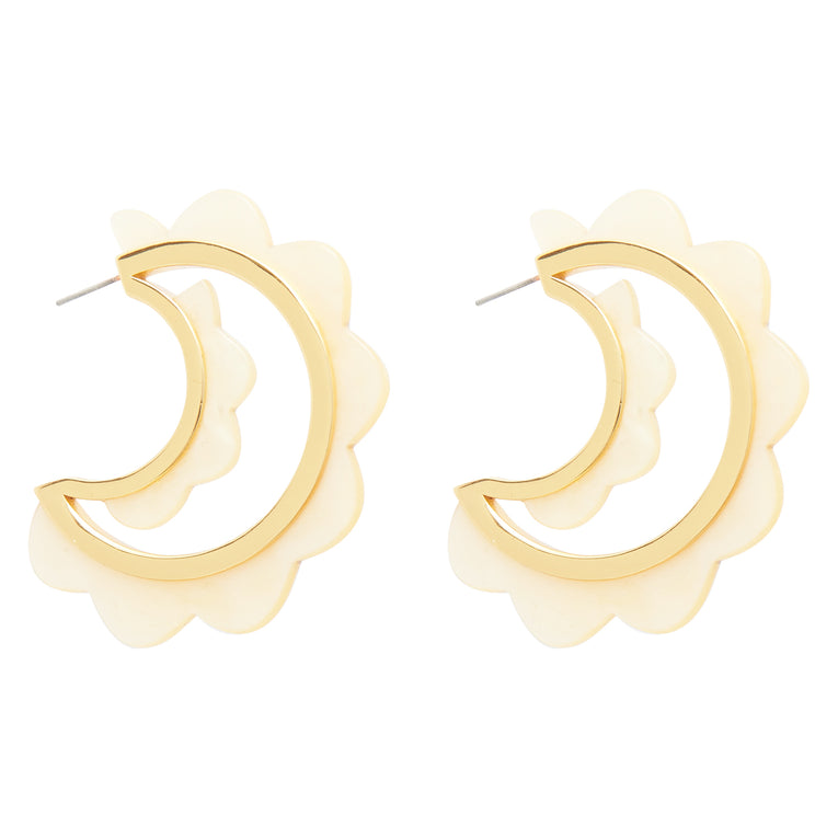 Mignonne Gavigan Sola Hoop Earrings in Cream Gold color