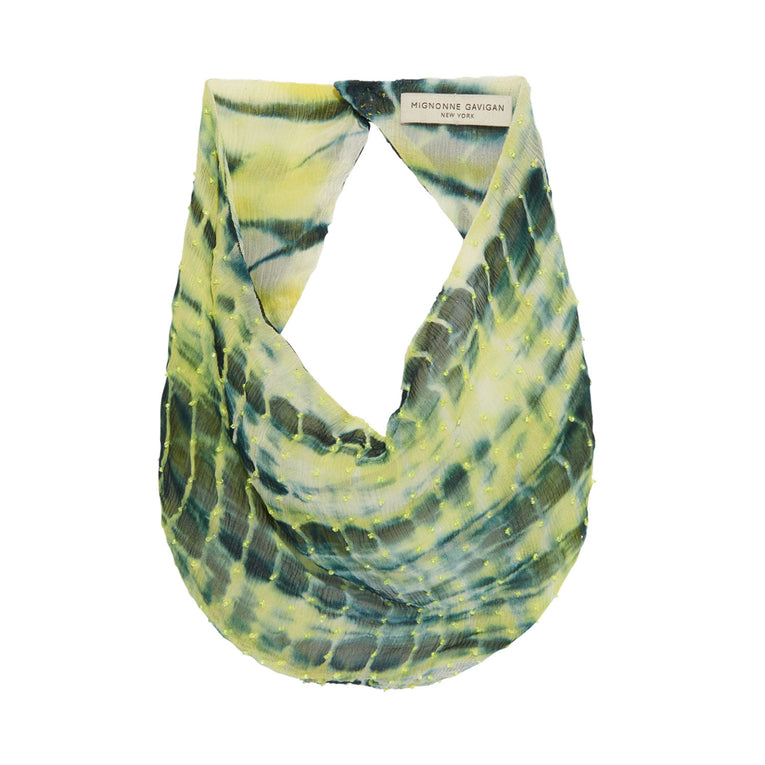 Tie Dye Scarf Necklace Green