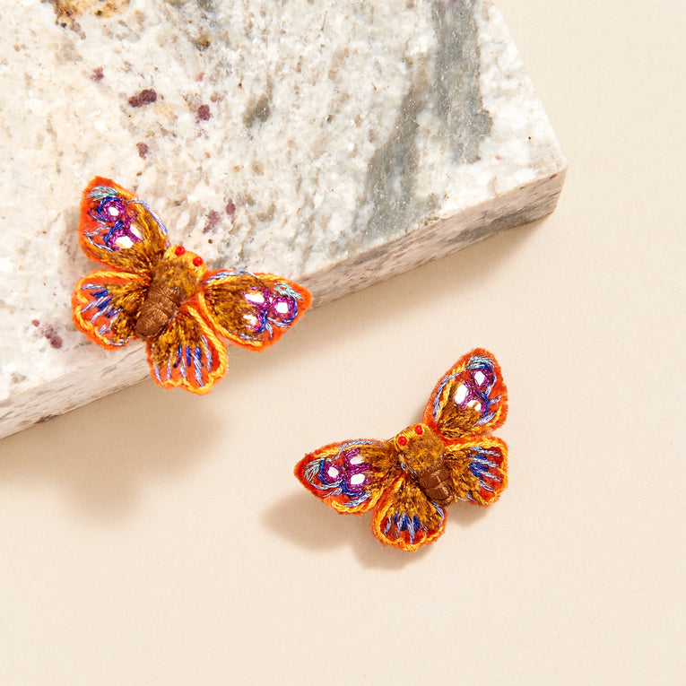 Mignonne Gavigan Vive Butterfly Stud Earrings Orange