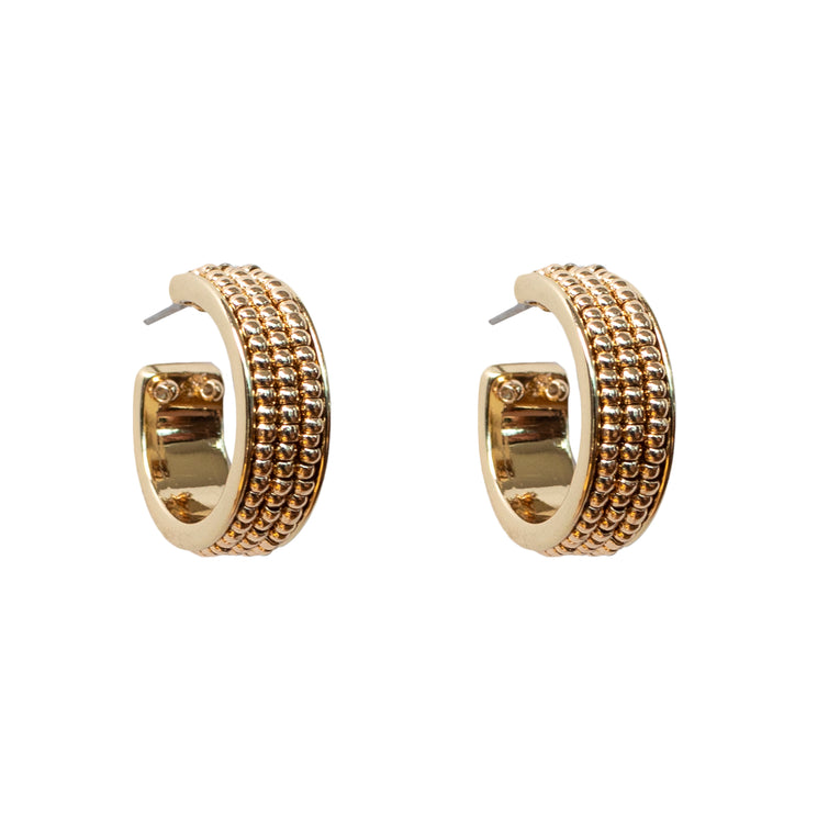 Mignonne Gavigan Wynnie Beaded Hoop Earrings in gold