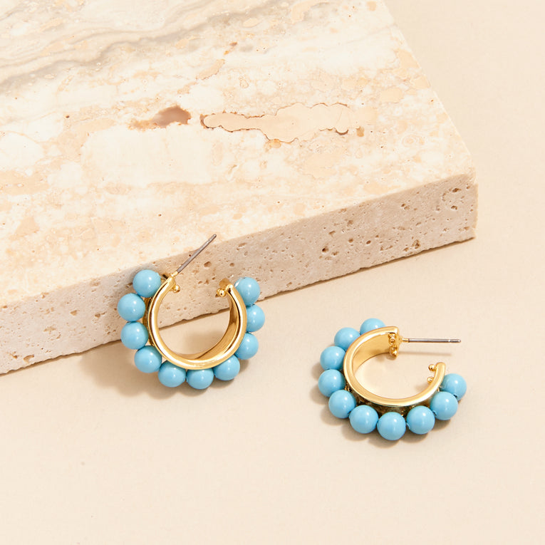 Mignonne Gavigan Wynnie Pearl Hoop Earrings Turquoise