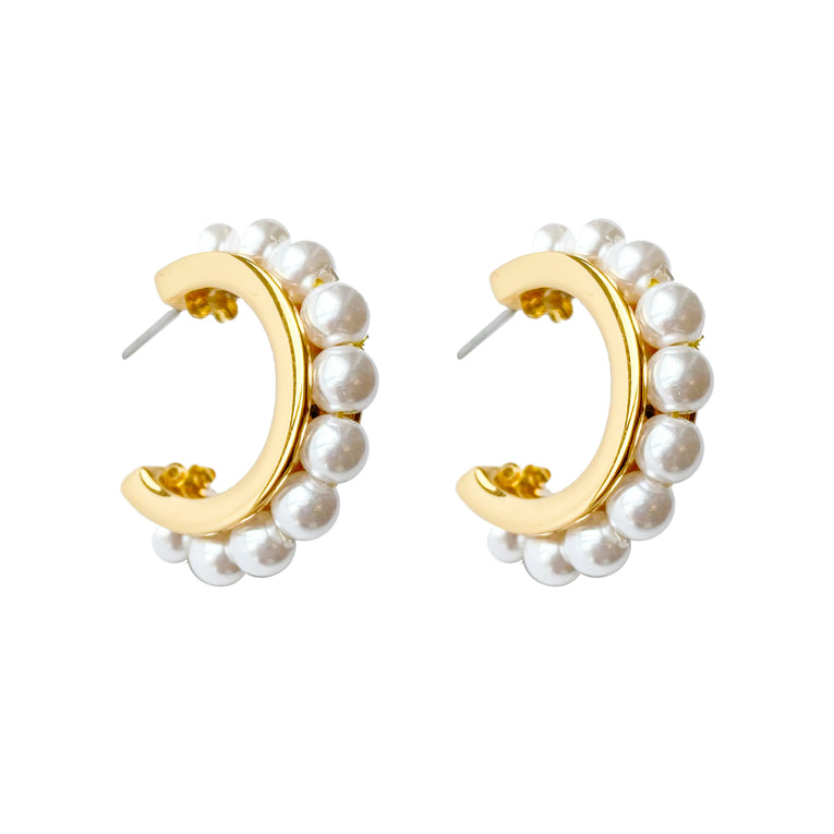 Mignonne Gavigan Wynnie Pearl Hoop Earrings Cream