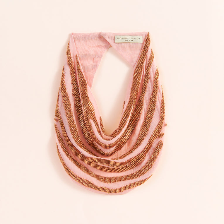 Mignonne Gavigan Zebra Scarf Necklace in rose gold color