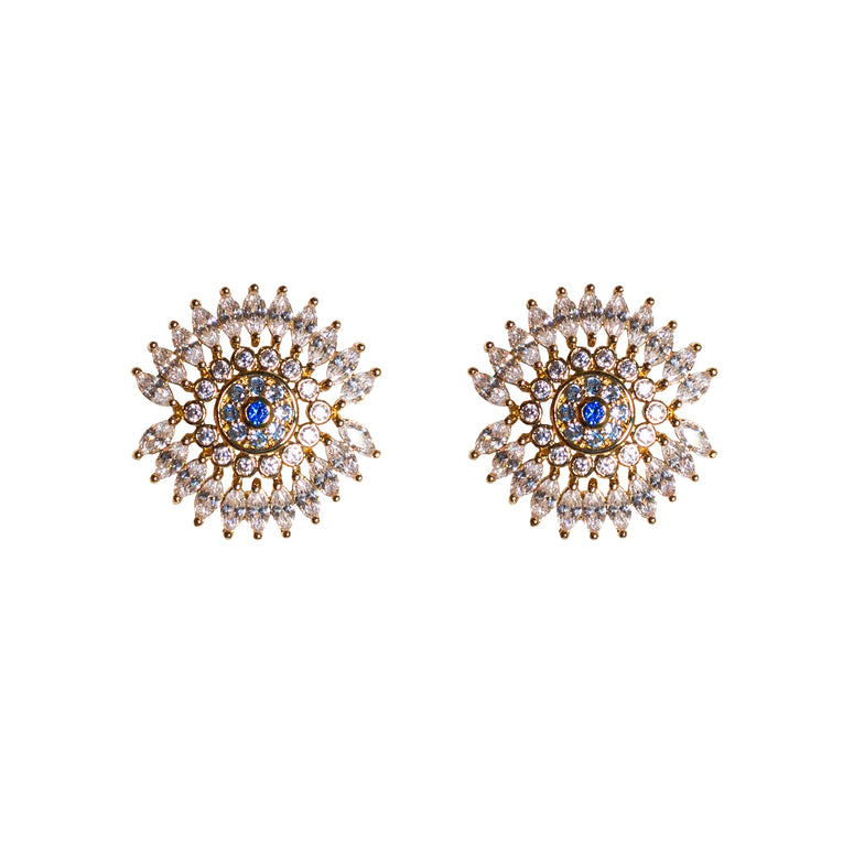 Mignonne Gavigan Crystal Eye Earrings Gold