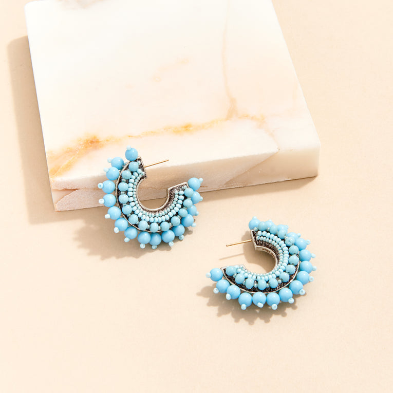 Mignonne Gavigan Mini Pearl Fiona Hoop Earrings in Turquoise