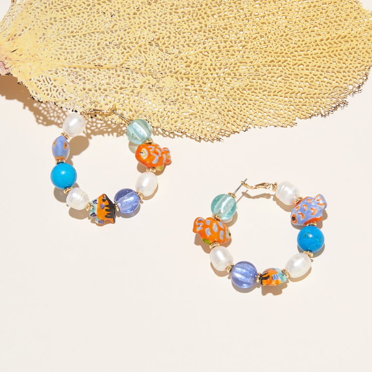 Bimini Glass Beaded Hoop Earrings Multi