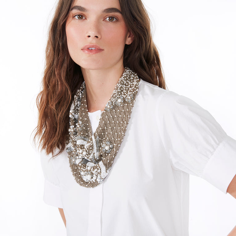 Mignonne Gavigan Le Charlot Scarf Necklace in Grey