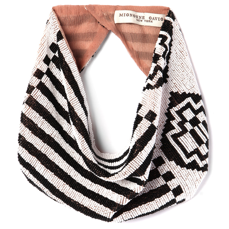 Mignonne Gavigan Aztec Scarf Necklace Black/White