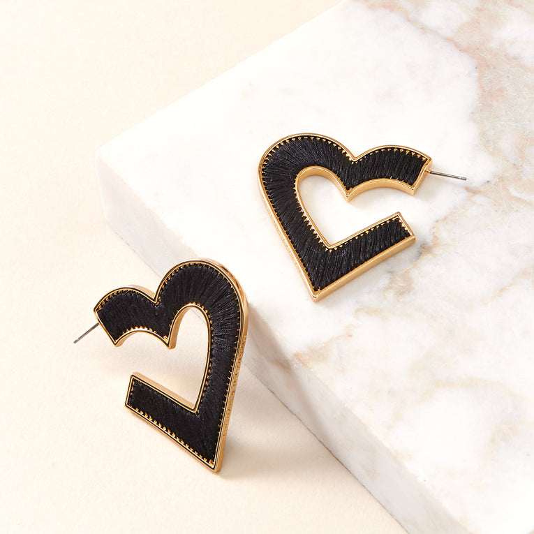 Mignonne Gavigan - Heart Fiona Hoop Earrings in Black/Gold