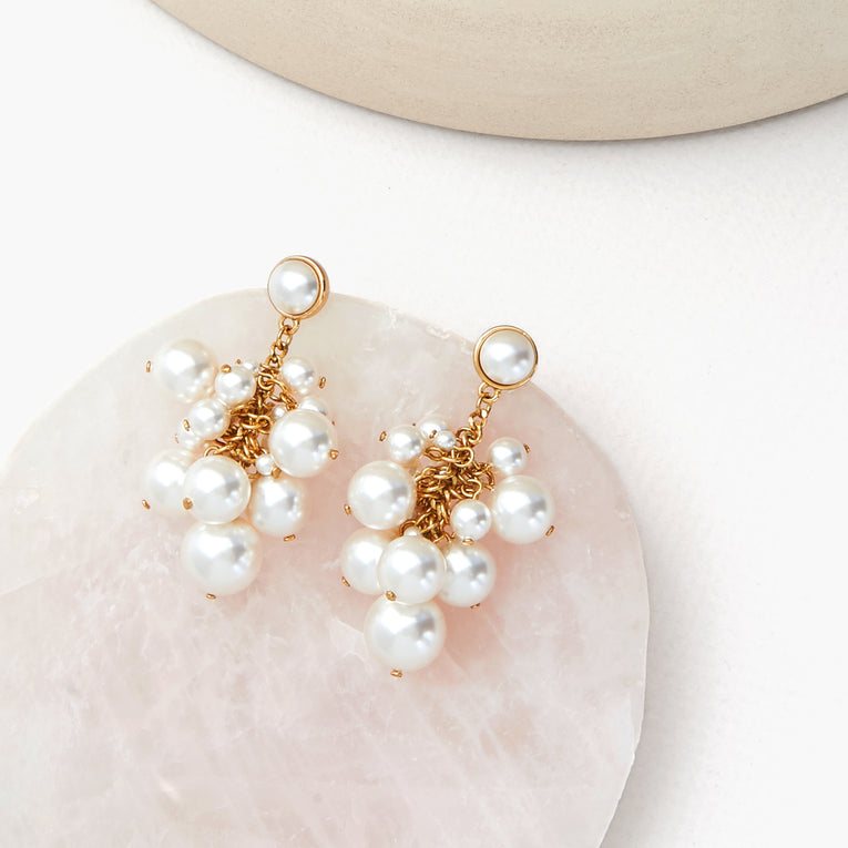 Petra Earrings White/Gold