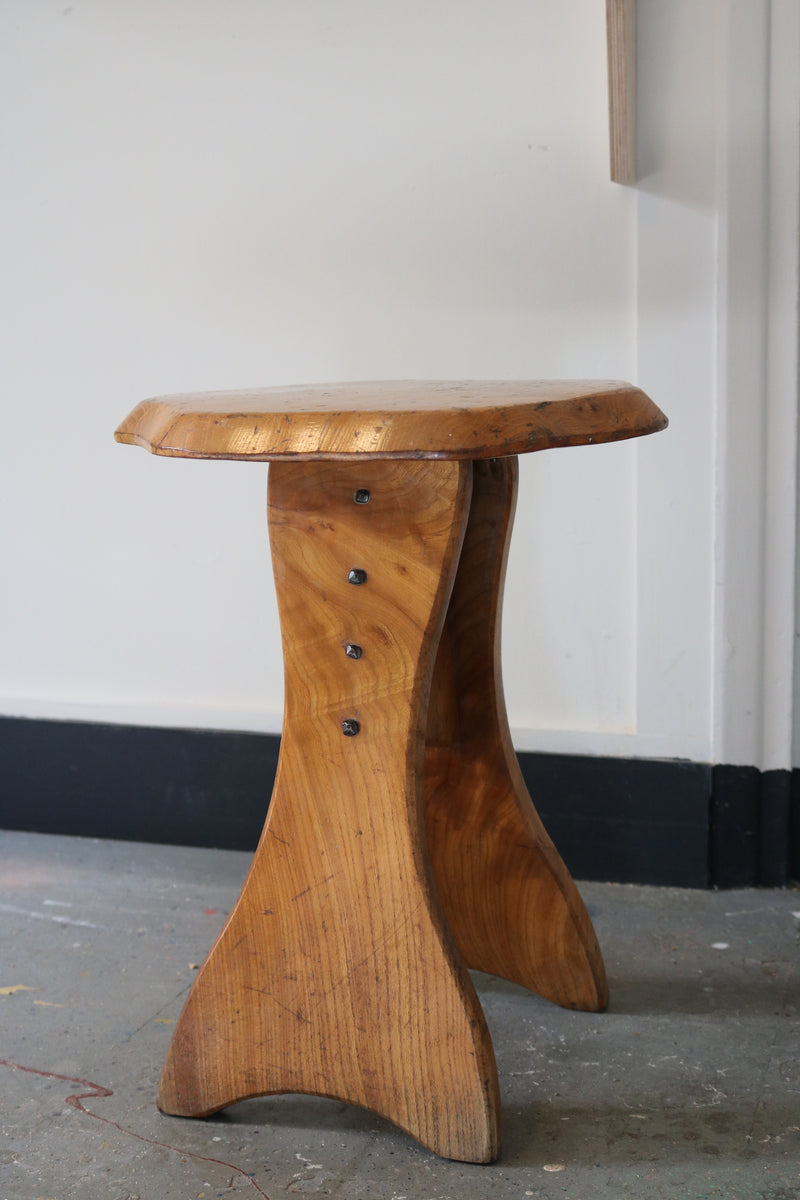 Brutalist solid elm wood side table/stool