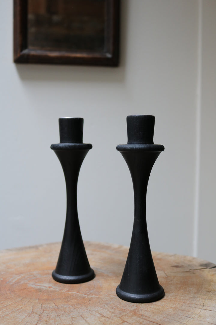 Ebonised Candlesticks - Form + Beyond graphic mirrors & wall art gallery london