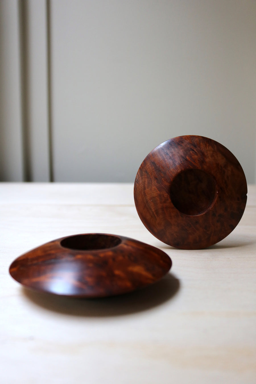 Walnut candleholders - Form + Beyond graphic mirrors & wall art gallery london