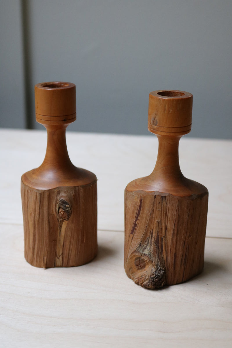 Brutalist wood candle holders