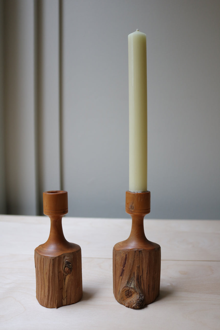 Brutalist wood candle holders - Form + Beyond graphic mirrors & wall art gallery london