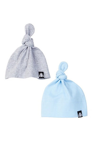 Organic Knotted Cap Giftset - Blue/Gray