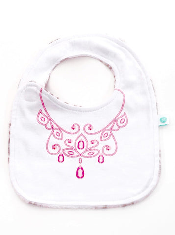 Minky Princess Crown Reversible Bib
