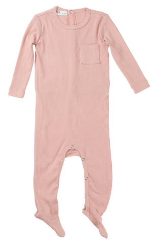 Ribbed Cotton Footie Romper