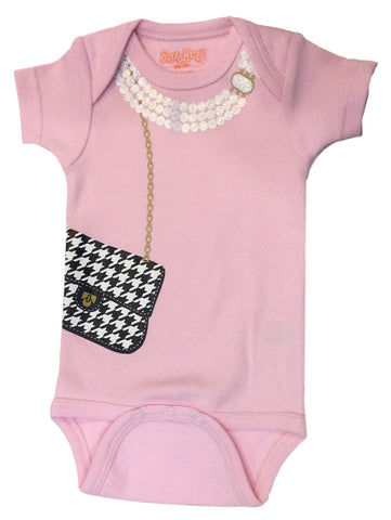 Houndstooth Bag with Pearls - Pink Onesie
