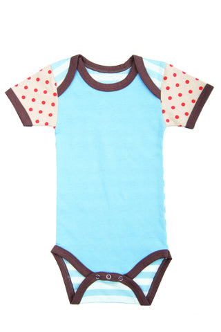 Baby Boy Onesie - Solid Blue with Red Dots
