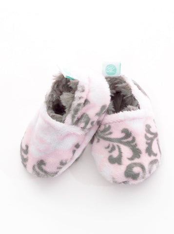Minky Reversible Booties - Pink