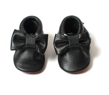 "Designer Inspired ""Red Bottoms"" Baby Mocs - Black"
