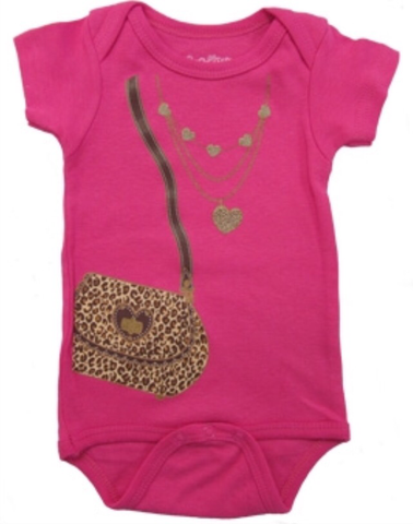 Leopard Bag and Necklace Onesie