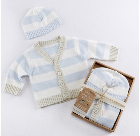 Blue Stripe Cardigan and Hat Gift set