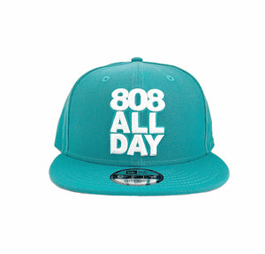 808ALLDAY TEAL / WHITE 808STACK NEW ERA SNAPBACK - 808allday