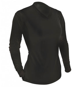 Women's L/S V-Neck Tee - BLACK