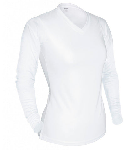 Women's L/S V-Neck Tee - WHITE