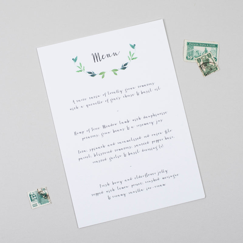 Botanical Garden A5 Table Menu - Pear Paper Co