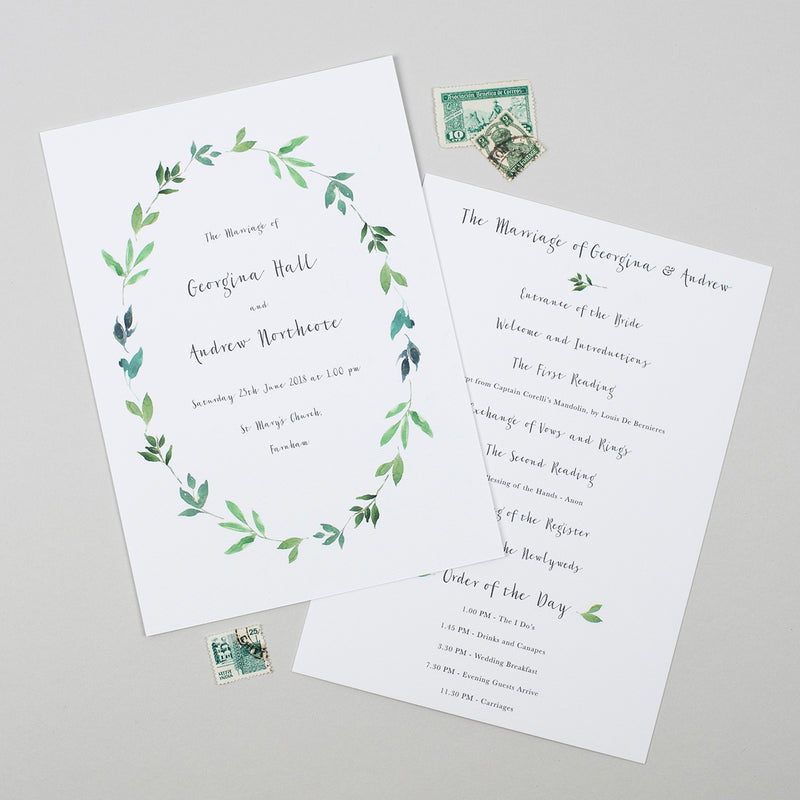 Botanical Garden Order of the Day Cards