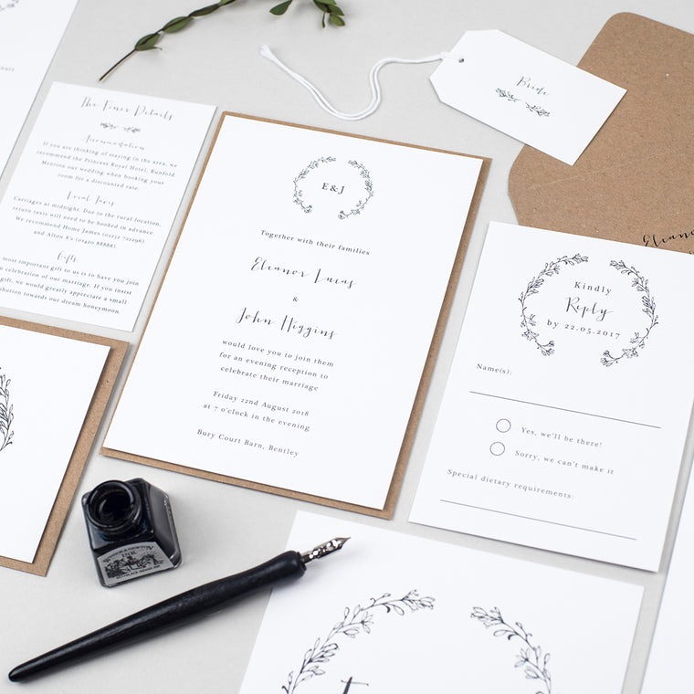 Delicate Laurel Wedding Invitation Suite