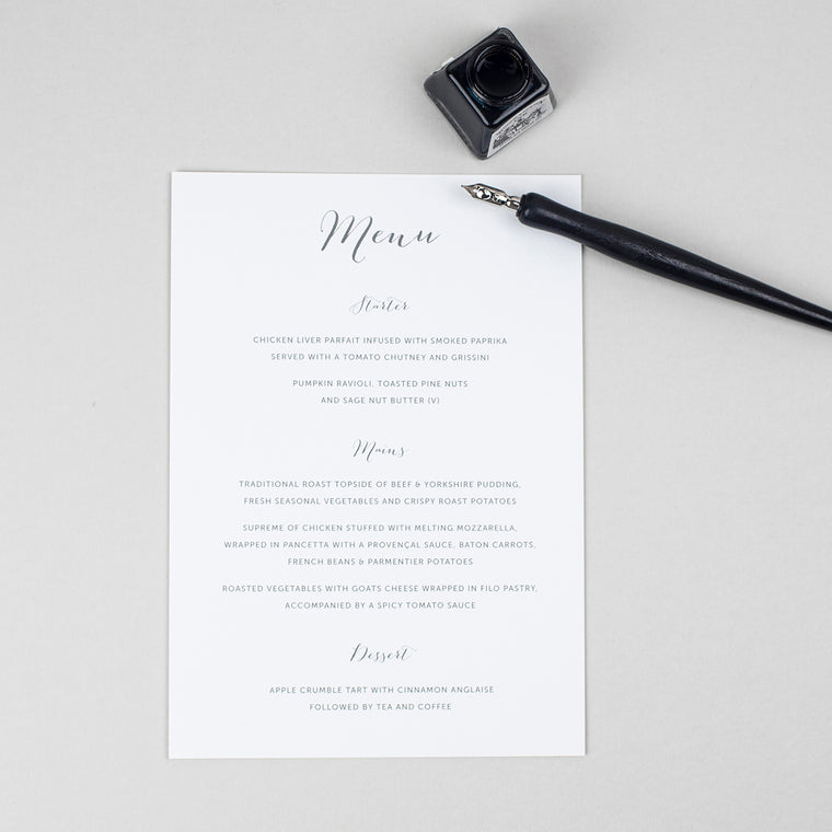 Elegant Calligraphy A5 Table Menu