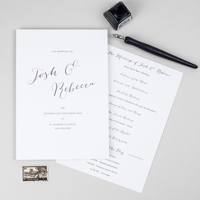 Elegant Calligraphy Order of the Day Cards
