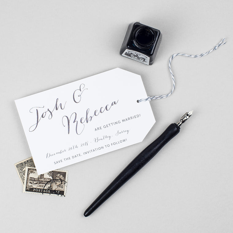 Elegant Calligraphy Save the Date Luggage Tag