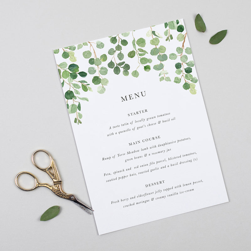 Eucalyptus A5 Table Menu