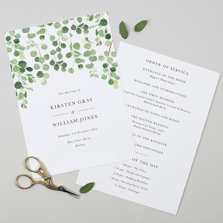 Eucalyptus Order of the Day Cards