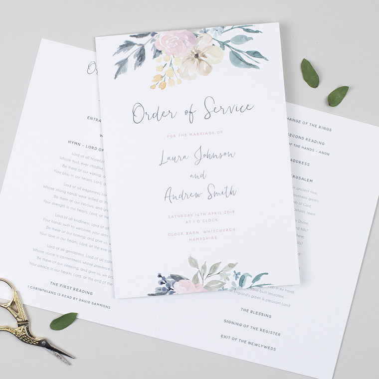 Floral Blush Order of Service Booklet