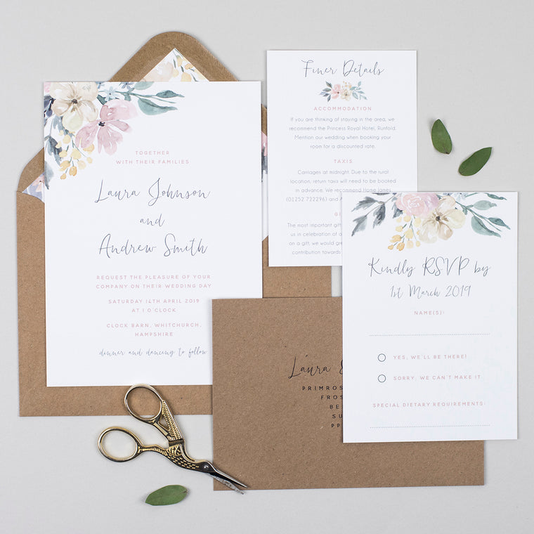 Floral Blush Wedding Invitation Suite
