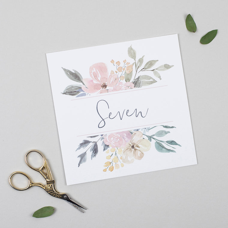 Floral Blush Pack of Table Numbers