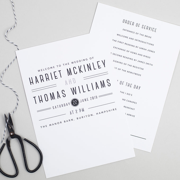 Graphic Type Order of the Day Cards