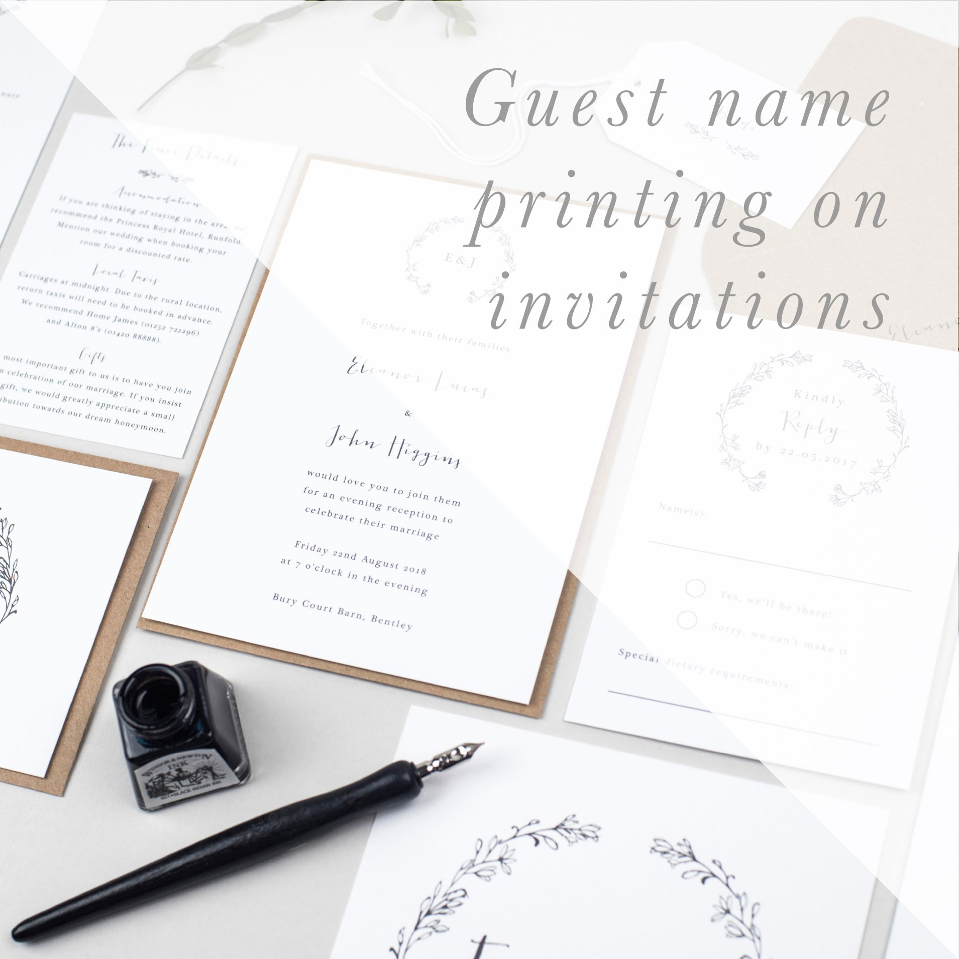 Guest Name Printing on Invitations - Pear Paper Co