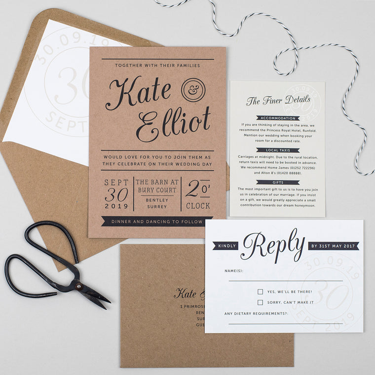 Kraft Stamp Wedding Invitation Suite