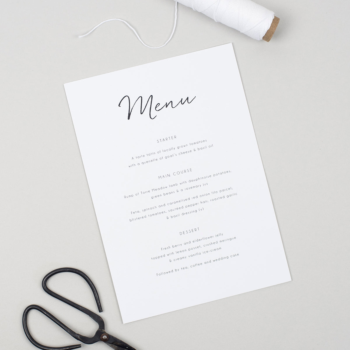 Minimalist A5 Table Menu