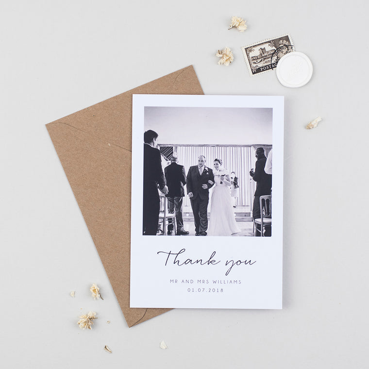 Minimalist Wedding Photo Thank You Cards