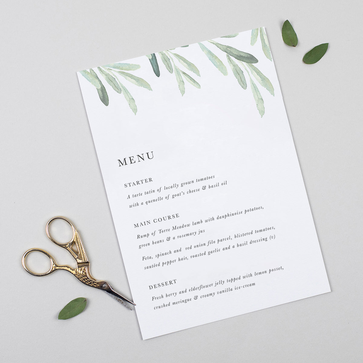 Olive A5 Table Menu