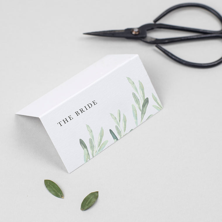 Olive Folded Place Cards