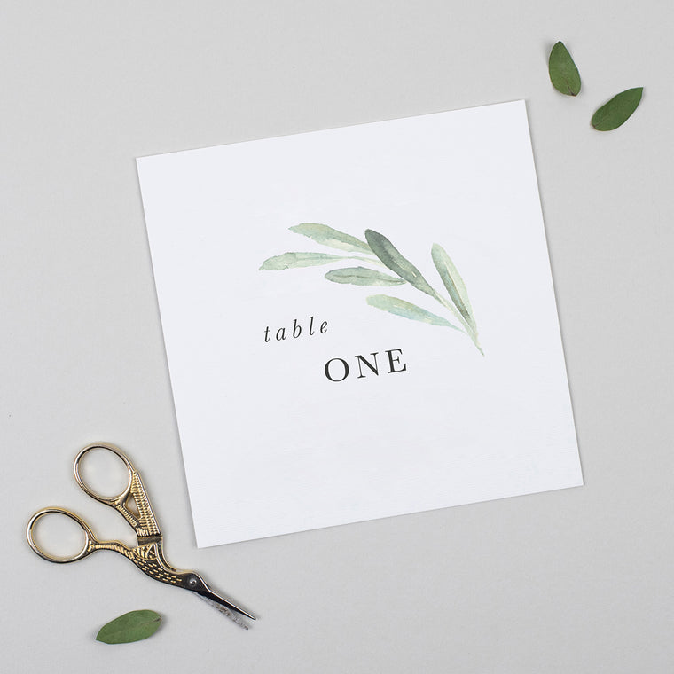 Olive Pack of Table Numbers